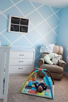 wall patterns, blue walls, chairs, paint designs, baby boys