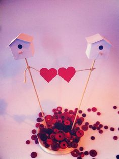 Wedding Cake Topper 2 Bird house With 2 Hearts by Ruby Canoe Design, $25.00