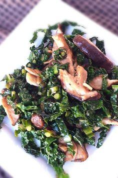 Kale and Portobello Mushrooms in Red Wine Sauce #Recipe