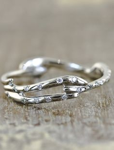 #recycled #gold #wedding #band #branch #twig #diamonds #tiny
