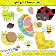 Spring Clip Art - Insects from RamonaMClipArt on TeachersNotebook.com -  - The set includes all of the children's favorites:  - a bee with trail; - butterfly; - caterpillar; - grasshopper; - ladybug and - snail