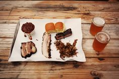 Meat, beer, beans and butcher paper.