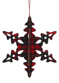 Classic Christmas: Tartan Plaid Snowflake Ornament