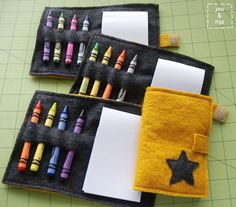 Crayon Booklet || you and mie party favors, notebooks, gifts, felt book, crayons, parti favor, gift idea, crayon booklet, kid