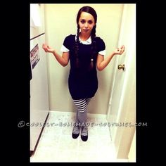 Last Minute Wednesday Addams Costume... This website is the Pinterest of costumes