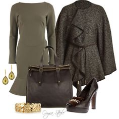 """Green Flare Dress"" by orysa on Polyvore"