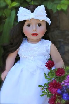 Flower Girl Dress & Headband. Fits American Girl. Worn by Melody Rose. Doll & Outfit available at www.harmonyclubdolls.com