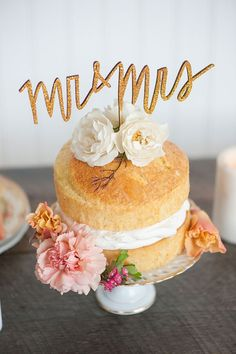 Mr and Mrs Wedding Cake Topper in Gold by EmilySteffen on Etsy!