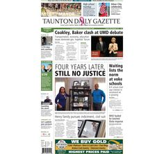 The front page of the Taunton Daily Gazette for Saturday, Oct. 18, 2014.
