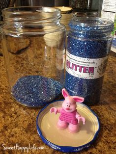 DIY Snow Globe - Piglet in a Pickle Jar. You can use any kind of character