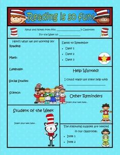 This classroom newsletter template is completely customizable.  4 full-color pages total are included, 2 with a colored background for digital news...