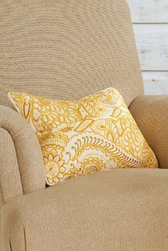 Goldenrod Embroidered Pillow - Tropical Landscape Pillow, Embroidered Accent Pillow | Soft Surroundings