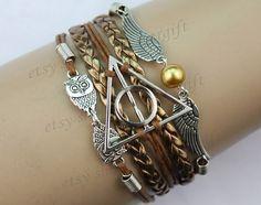 harry potter bracelet, Infinity bracelet, owl wing bracelet, pearl bracelet, gift for girl friend,boy friend.-Q663