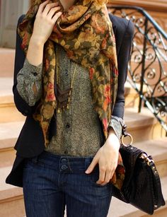 scarf and patterned button-down