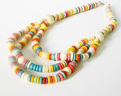 Vintage rainbow candy wood beaded multiple strand necklace