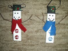 """Tobacco Stick"" Snowmen.  (These aren't actual tobacco sticks, but the original idea came from them.)"