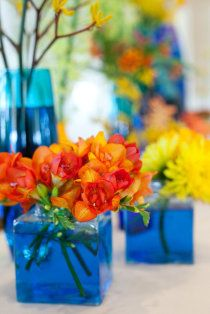 Beautiful pops of bright colors used for the wedding at the Bonnet Island Estate! #StyleMePretty