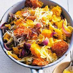 Recept - Farfalle met pompoen en salami - Allerhande