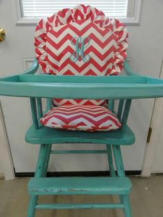 Antique painted wooden high chair with monogrammed cushion! LOVE!