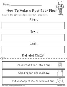 Nifty Fifties- 50th Day of School math and literacy fun.  How to make a root beer float.