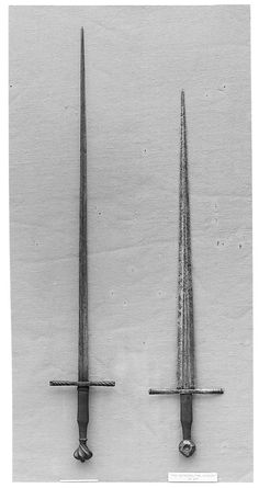Early 15th century German blades. Left one is an estoc; edgeless or nearly so.