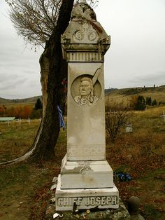 Grave Marker- Chief Joseph -   		Hin-mah-too-yah-lat-kekt, or Thunder Rolling Down the Mountain. A man  of supreme courage, honor, and dignity.