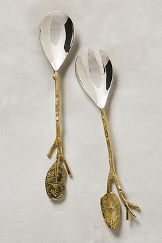 Branch and twig gold serving set, love this!