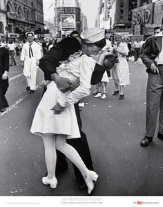 When Americans were celebrating victory over Japan with a military parade in Times Square on Aug 14, 1945. Apparently this sailor was grabbing every girl in sight and kissing her.