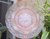 federal petal Glass Plate Flower No-Kill Ever-Blooming garden art ooak repurpose vintage pink. $30.00, via Etsy.