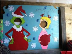 For Lloyd's Hearts Apart Whoville Party - Grinch and Cindy Lou Who face board - I just finished it today!