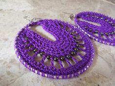 So pretty! Purple Crochet  Hoop Earrings by NaturallyWonderful on Etsy, $15.00