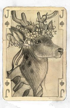 """""""Fable"""" pencil drawing by Archplus #PlayingCards #fairytale #deer #fawn #carddeck #cardgame #cards - Carefully selected by GORGONIA www.gorgonia.it"""