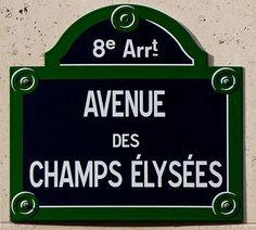 Avenue des Champs-Élysées street sign, Paris, France