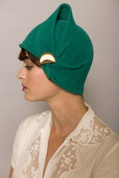Green cloche with eggshell detail by yellowfield7 on Etsy