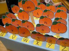 October ideas kindergarten balanced literacy Kindertips classroom, preschool pumpkin, alphabet idea, letter recognition, fall, boxes, paper pumpkin, balanced literacy, preschool idea