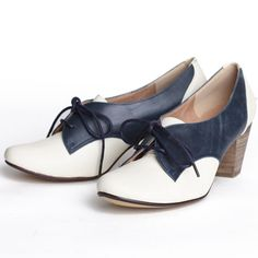 """Chelsea Crew """"Susan"""" oxford heels in blue and white $59.99"""