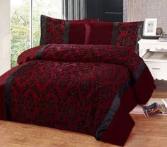 Burgundy Red Black Flock Design In Faux Silk King Size
