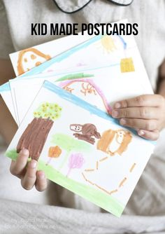 Kid made postcards -fun idea to send to grandparents! #kidscrafts