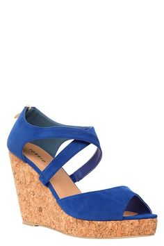 Lena Blue Suede Toe Wedge (Wide Width) | Shop All Shoes