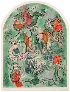 """""""Jerusalem Windows: The Tribe of Asher"""" by Marc Chagall"""
