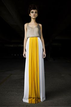 Kiriakos, yellow pleated long skirt