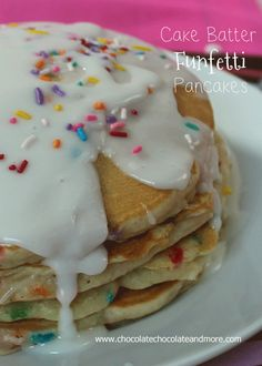 Cake Batter Funfetti Pancakes from Chocolatechocolateandmore.com