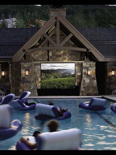 Outdoor pool movie theater!!! Summer time family night. Definitely doing this!!!