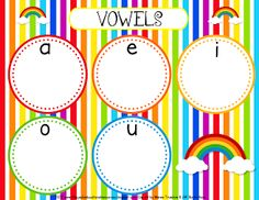 FREE Rainbow Vowel Sorting Mat Activity