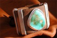 Royston Mine Turquoise<br />From Western Nevada<br />1960's Leather Belt