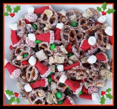 Santa Hat Chex Mix - Deliciously Addictive Christmas Snack Mix - yummo!