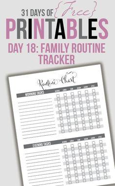 Family Routine Tracker Printable (Day 18)