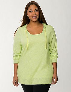 Go green in our soft-to-the-touch Hacci Knit Hoodie! #LaneBryant