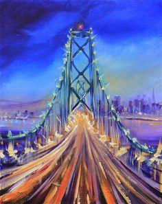 acryllic painting, brooklyn bridge, acryl paint, acrylic paintings, celebrity art