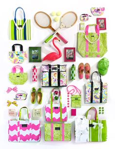 A vast assortment of summertime pink and green preppy awesomeness! #pink #green #Southern #preppy